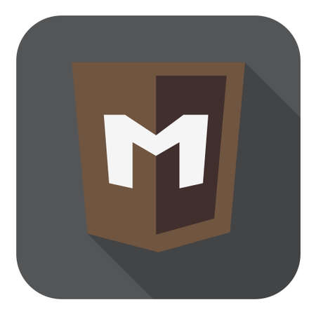 mongo: vector illustration on light brown shield with M letter mongo database, isolated web site development icon on white background Illustration