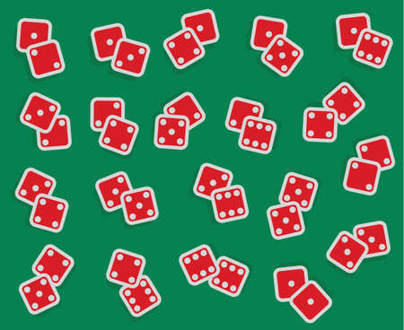 double the chances: vector collection of all combinations of dice, from one-one to six-six, double red isolated cubes with numbers on green casino background