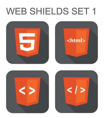 html web 開発シールド標識 html5、タグ、白い背景の上のブラケット分離アイコンのベクトル コレクション