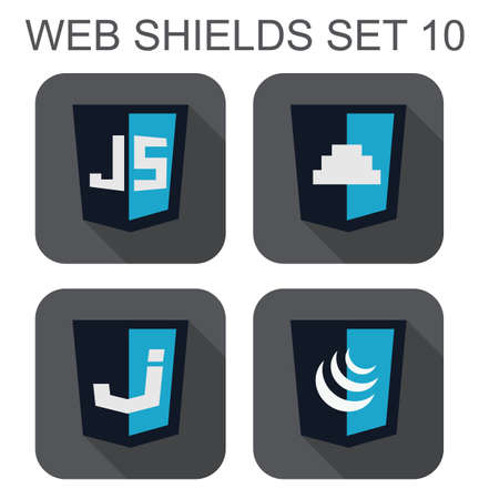 js: vector collection of  javascript web development shield signs  js, button, J letter  isolated icons on white background