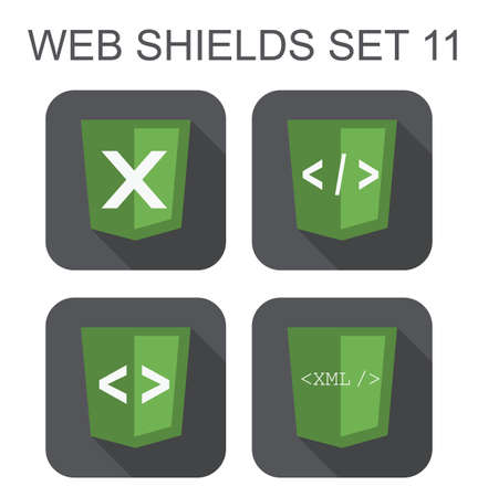 vector collection of  xml web development shield signs  xml, tag, closing tag, letter X  isolated icons on white background Stock Vector - 26426643