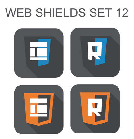 vector collection of  web responsive design shield signs  layout, letter R  isolated icons on white background Vector