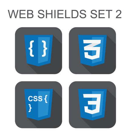 css: raccolta vettore di sviluppo web css segni scudo css3, codice di stile, curve isolati icone su sfondo bianco