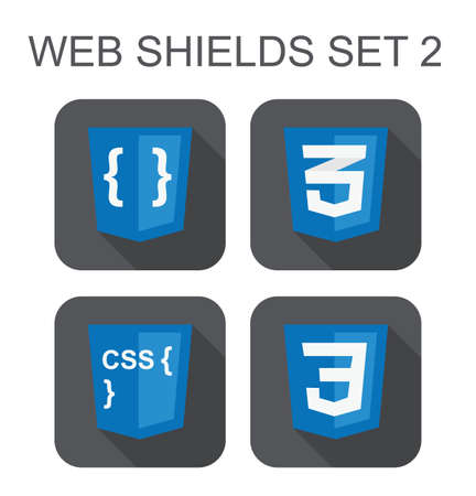 css3: vector collection of css web development shield signs  css3, style code, curves  isolated icons on white background