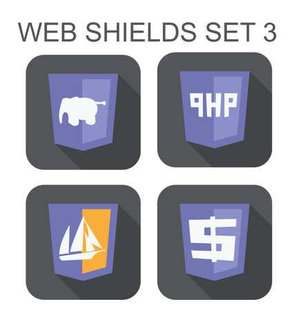 php web 開発シールド標識 php 象、php 管理者ボート、白い背景で隔離されたドル記号アイコンのベクトル コレクション  イラスト・ベクター素材