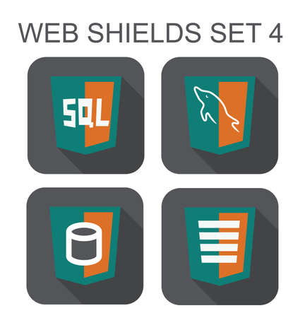 sql: vector collection of mysql web development shield signs  database, sql, dolphin  isolated icons on white background
