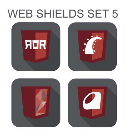 ruby: vector collection of ruby web development shield signs  ruby on rails, diamond, railroad  isolated icons on white background
