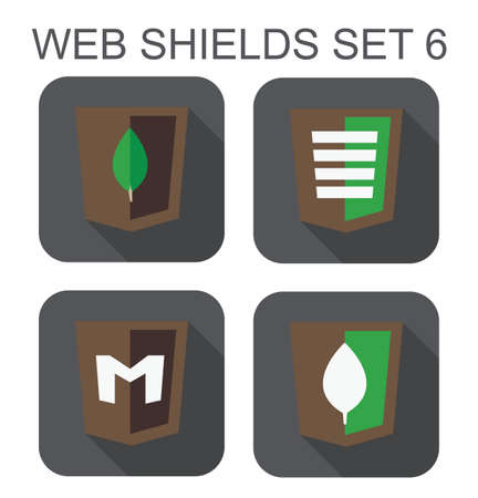 mongo: vector collection of mongo database web development shield signs  leaf, letter M  isolated icons on white background