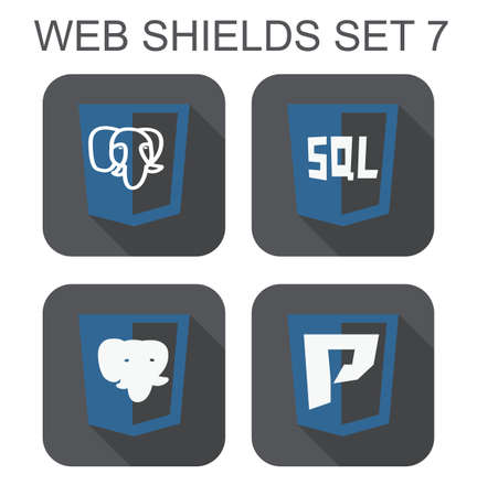 sql: vector collection of postgre database web development shield signs elephant, letter P, sql  isolated icons on white background Illustration