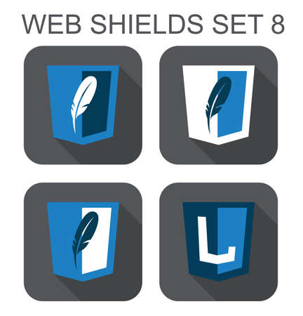 vector collection of  database web development shield signs  feather letter L  isolated icons on white background Vector