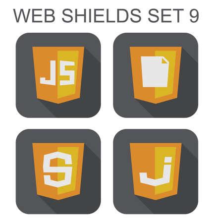 javascript: colecci�n de vectores de javascript de desarrollo web signos escudo js, ??S letra, letra J, documentar iconos aislados sobre fondo blanco Vectores