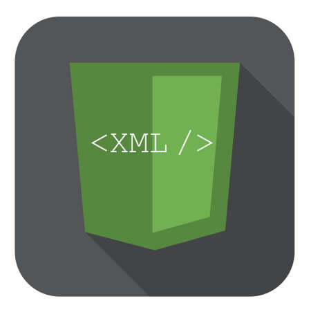 markup: vector illustration of green shield with xml programming language markup, isolated web site development icon on white background