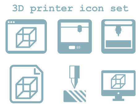 window display: vector icon set of 3d printing technology, flat blue isolated icons: display, window, blueprint, device on white background
