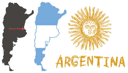 argentine: black argentina shape with red dot capital Buenos Aires, flag with shape of border and hand drawn yellow sun emblem on white background isolated vector