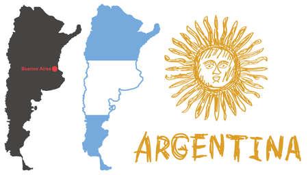 buenos aires: schwarz argentinien Form mit red dot Hauptstadt Buenos Aires, Flagge mit Form von Grenze und von Hand gezeichnet gelbe Sonne Emblem auf wei�em Hintergrund isoliert Vektor Illustration