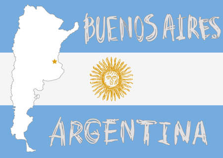 argentine: white argentina border shape with capital Buenos Aires, big argentina flag on background and hand drawn sun emblem on white background Illustration