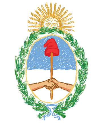 buenos aires: isolated hand drawn vector emblem of argentina - yellow sun, wreath, oval, blue, stick, hat, handshake, ribbon on white background