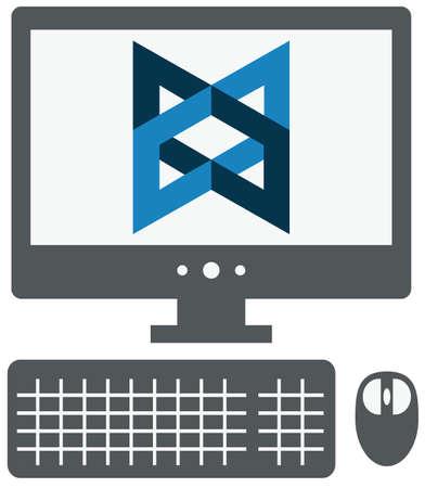 バックボーン js サインオン画面、白い背景の上の灰色のシンプルなフラット イラスト分離したパーソナル コンピューターのベクトル アイコン  イラスト・ベクター素材