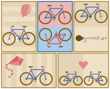 soft pedal: bicycle postcard set, contains five red or blue bikes with heart, horn, kite and baloon on pastel brown stripped wallpaper  Illustration