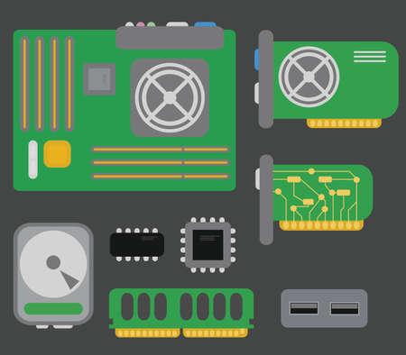 パソコン部品マザーボード、ビデオカード、ハード ドライブ、ネットワーク カード、usb コネクタ、クーラー、チップ、灰色の背景で隔離のベクト  イラスト・ベクター素材