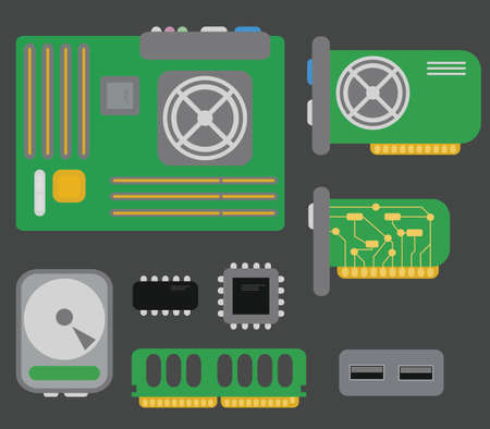 vector collection of personal computer parts  motherboard, video card, hard drive, network card, usb connector, coolers, chips, isolated on grey background Vector