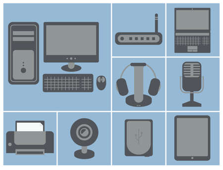 pocket pc: vector icon set of computer devices  personal computer, router, laptop, printer, web camera, earphones, microphone, hard drive, tablet Illustration