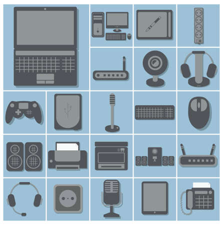 stylus: vector icon set of computer gadgets and devices 22 squares collection, light blue background