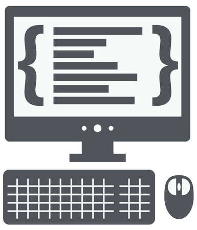 vector personal computer with programming code on the screen isolated vector on white background