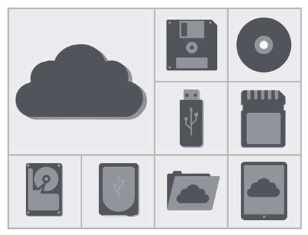 vector collection of different storage devices, from compact disc to cloud web storage, isolated flat icon set