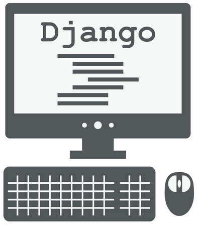 python: vector icon of personal computer with django code on the screen, isolated grey simple flat illustration on white background