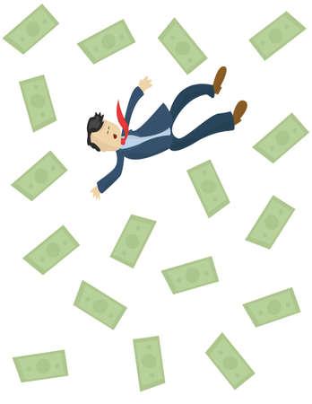 falling man:  falling man and money Illustration