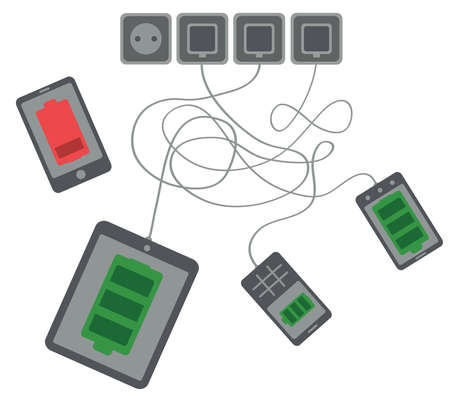low battery: tablet, mobile phone and smartphone are charging, one smartphone indicates low battery level on white background isolated vector Illustration