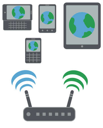 radio beams: smartphones, qwerty phone and slider with internet earth icon on display connected to wifi via router isoladed vector on white background Illustration