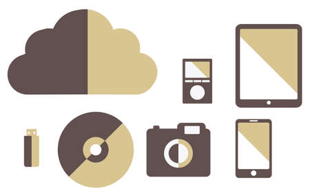 flash drive: vector collection of media gadgets vintage color cloud, tablet, flash drive, smartphone, camera, player Illustration