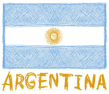bandera argentina: bandera de la Argentina con la mano dibujada amarillo emblema del sol en el fondo blanco Vectores