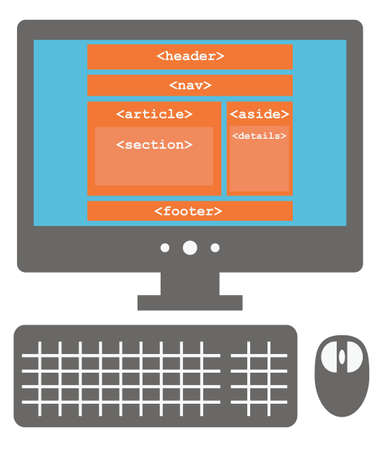 nav: vector icon of personal computer with html5 layout on the screen, new tags, isolated simple flat illustration on white background