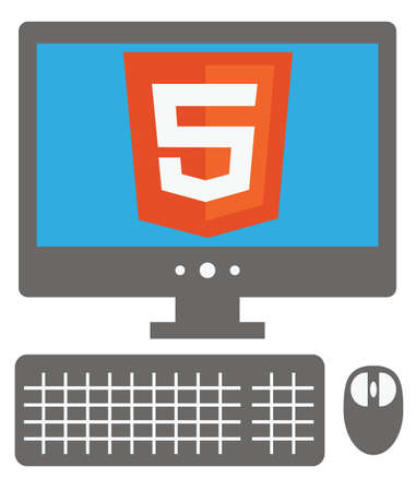 vector icon of personal computer with html5 sign on the screen, isolated simple flat illustration on white background Vector