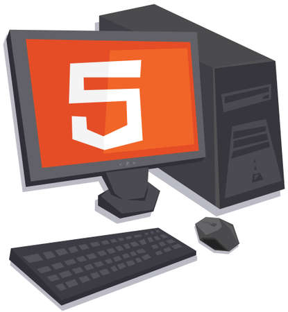 html5: vector personal computer with html5 logo on the screen isolated vector on white background