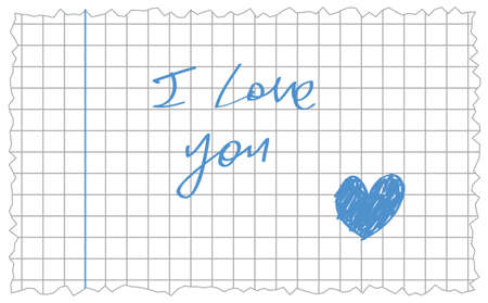 anonym: hand-writing i love you and hand drawn blue heart date on clean white notebook sheet with rough edges Illustration