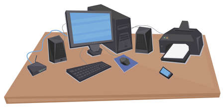 pc monitor: office desk with processing unit, monitor, speakers, keyboard, mouse, router, printer and phone