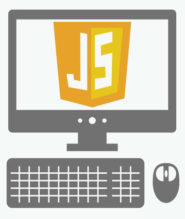 javascript: vector icon of personal computer with javascript shield on the screen, isolated simple flat illustration on white background