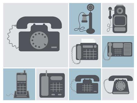 clavados: conjunto de vectores de los teléfonos en casa Lineland, desde los viejos tiempos de radio teléfonos modernos, iconos cuadrados aislados