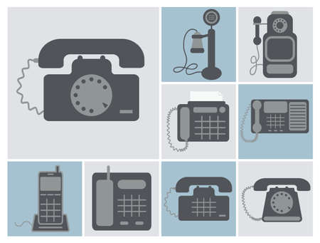 old times: vector set of lineland home phones, from old times to modern radio phones, isolated square icons