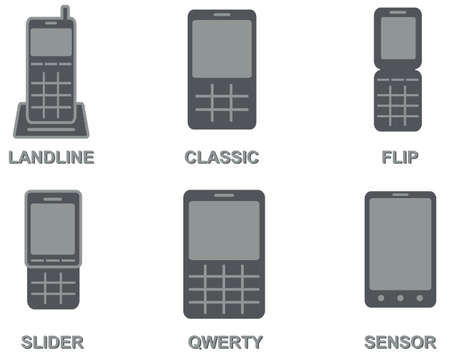 call history: vector collection of mobile phone types  landline, classic cell phone, flip, slider, qwerty, sensor