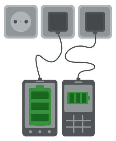 mobile phone, smart phone and table pc and battery status, fully charged, half empty, almost empty Stock Vector - 26426680