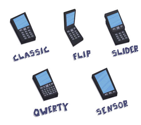 qwerty: line drawn collection of mobile phones  classic, flip, slider, qwerty, sensor isolated on white background