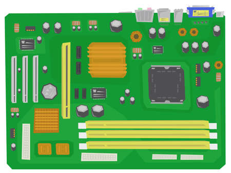 circuitboard: motherboard of personal computer Illustration