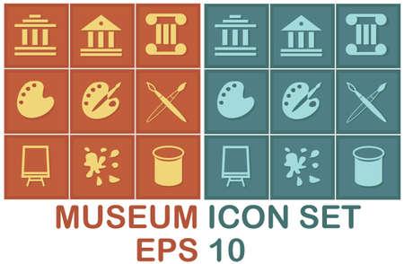 paleta: Icono de museo 2x9 establecer sobre fondo azul-rojo marr�n y oscuro