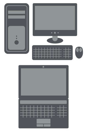 running off: personal computer with processing unit, display, keyboard and mouse and laptop on white background,  isolated, 2 colors