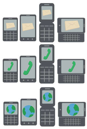 call history: vector collection of mobile phone types receiving messages, calls and connecting to the internet isolated on white background Illustration